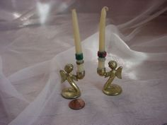 Vintage Brass Angel Candlesticks Miniature Pair Medieval Look 1960's