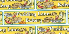 A great banner to link your bakery role play area to the Great Fire of London topic! Great Fire Of London, The Great Fire, Role Play Areas, Bakery Display, Display Banners, Classroom Displays, Christmas Decorations, Pudding, Knitting