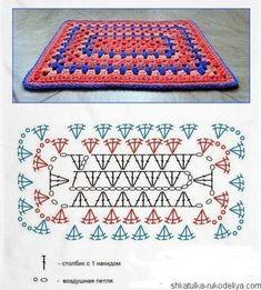 Crochet Mandala Pattern, Granny Square Crochet Pattern, Crochet Flower Patterns, Crochet Diagram, Crochet Squares, Crochet Blanket Patterns, Crochet Stitches, Knitting Patterns, Knit Crochet
