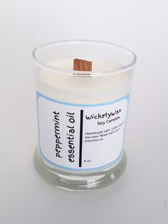 Give your energy levels a boost with an invigorating aromatherapy peppermint essential oil soy candle. Handmade with natural soy wax and pure peppermint essential oil. Hand poured into an 8 ounce glass jar with a crackling wooden wick. Essential Oil Candles, Essential Oils, Soy Candles, Candle Jars, Fall Scents, Glass Jars, Aromatherapy, Peppermint, Wax