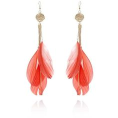 River Island Coral feather hammered coin earrings ($9.22) ❤ liked on Polyvore