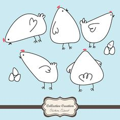 Cute Doodle Chicken & Egg Clipart Set - Ideal for Scrapbooking, Cardmaking and Paper Crafts Doodle Drawings, Easy Drawings, Doodle Art, Chicken Drawing, Chicken Art, Bird Illustration, Illustrations, Drawing For Kids, Line Drawing