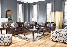 Cindy Crawford Home  Boulevard West  3 Pc Black Oak Leather Living Room at Rooms To Go