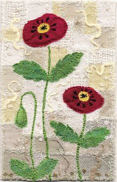 "https://flic.kr/p/66t35S | Two Poppies, small | Poppies on a patchwork of various fabrics.  Gold thread accents are scattered throughout. 3"" x 4 ½""  9"" x 11"" framed SOLD Private collection UK <a href=""http://www.chursinoff.com/kirsten/"" rel=""nofollow"">www.chursinoff.com/kirsten/</a>"