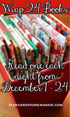 Wrap 24 Books and Read One Each Night Dec. Such a special family tradition - it forces you to slow down and enjoy precious time together during this wonderful yet hectic time of year! Click through to find book recommendations! Neighbor Christmas Gifts, Christmas Books, Christmas And New Year, Christmas Holidays, Christmas Crafts, Minion Christmas, Xmas, Christmas Ideas, Family Traditions