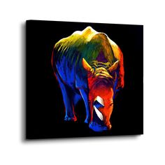 size: Stretched Canvas Print: The Rhino by Clara Summer : Using advanced technology, we print the image directly onto canvas, stretch it onto support bars, and finish it with hand-painted edges and a protective coating. Canvas Artwork, Canvas Wall Art, Canvas Prints, Pop Art, Painting Prints, Art Prints, Elephant Art, Contemporary Wall Art, Glass Wall Art