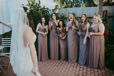 This is what a REAL first look should look like! #bridesmaids #bridalparty #bridesquad #bridetribe