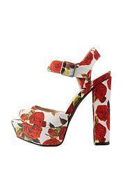 Qupid Floral Print Chunky Platform Heels