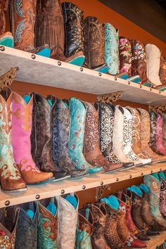 Lane Boots wall display, so pretty!