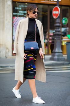 Danielle Bernstein Street Style Midi Skirt Ribbed Turtleneck
