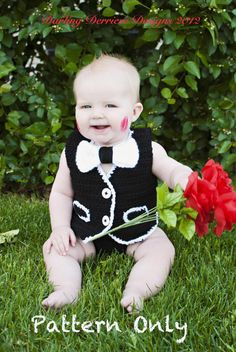 Vest, Bowtie, AND Diaper Cover Crochet Pattern. >> purchase pattern for personal use or photo prop