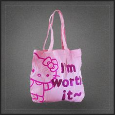 Sac à main shopping Hello Kitty I'm worth it! Un très chouette sac à main Hello Kitty pour femme.
