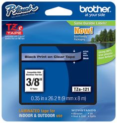 """Order Brother TZe-121 P-touch Black on Clear 3/8"""" (9mm) Tape from PtouchDirect for very low prices."""