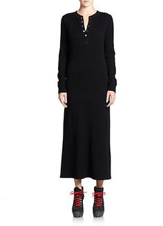 Make it in Navy or Black ponte jersey - Polo Ralph Lauren Cashmere Henley Maxi Dress