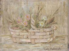 Tadeusz MAKOWSKI,Kwiaty w wazonie, olej, deska, 20 x 26,5 cm