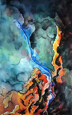 My Celestial Universe, Original Watercolor Painting, Abstract Art by Simply Claudia