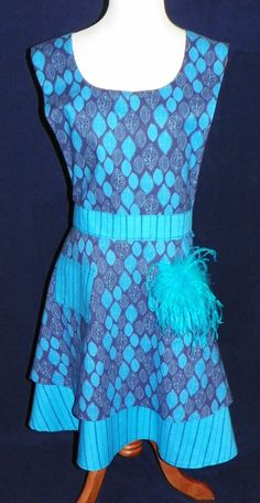 Fascinating Leaves and Navy Stripes on Teal Retro by nanasaprons, $29.77
