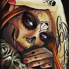 Top Best Sugar Skull Makeup Wallpaper For Mobile Phone La Muerte Tattoo, Catrina Tattoo, Skull Girl Tattoo, Sugar Skull Tattoos, Cholo Art, Chicano Art, Day Of Dead Tattoo, Sugar Skull Girl, Sugar Skulls