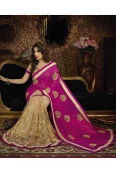 A Vibrant #Pink And #Gold #Saree - #deepkalasilk