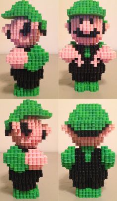 3D Mario Super Luigi perler beads by eightbitbert on deviantART