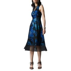 Kay Unger Metallic Floral Silk Blend Sleeveless Fit-and-Flare Dress ($371) ❤ liked on Polyvore featuring dresses, sleeveless fit and flare dress, deep v neck dress, floral fit and flare dress, sleeveless floral dress and fit and flare dress