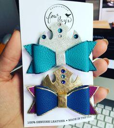 Elsa hair bow and Anna hair clip, frozen hair bows, leather bows, handmade bows
