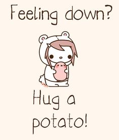 pomme de terre = potato & pommes de terre = potatoes :] -- French | kawaii potato -- hug a spud