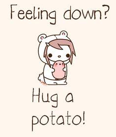 pomme de terre = potato & pommes de terre = potatoes :] -- French | kawaii potato -- hug a spud