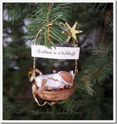 Christmas in a nutshell - cute.  I just hung the one my 26 year old made in his Sunday school class many years ago:)