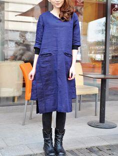 Linen Long Dress Gown in Blue/ Pleated Sundress- Made to order. $69.00, via Etsy.