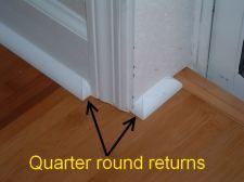 In this photo you can see the finished quarter round return or end cap. In this photo you can see the finished quarter round return or end cap. Base Shoe Molding, Floor Molding, Moldings And Trim, Crown Molding, Moulding, Molding Ideas, How To Install Baseboards, Quarter Round Molding, Trim Carpentry