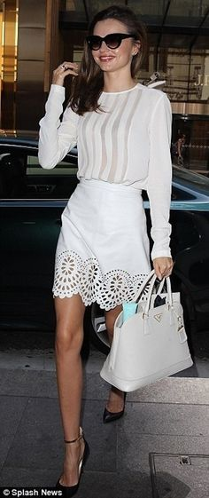 4. #White Blouse and #Perforated Skirt - 65 #Absolutely Stunning Miranda Kerr #Outfits ... → #Celebs #Stunning