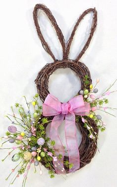 Bunny Wreath Easter Wreath Spring Wreath by CrookedTreeCreation Spring Crafts, Holiday Crafts, Easter Table Decorations, Easter Centerpiece, Diy Ostern, Easter Holidays, Diy Wreath, Door Wreaths, Wreath Ideas