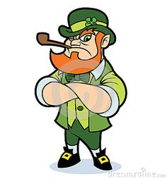 A tough looking cartoon leprechaun, standing with arms crossed