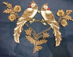 Two parrots Aari Embroidery, Embroidery Suits, Embroidery Patches, Hand Embroidery Designs, Embroidery Patterns, Maggam Work Designs, Indie, Lesage, Bollywood