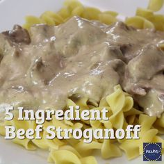 It doesn't get any easier than this 5 Ingredient Crock Pot Beef Stroganoff. It's a quick and tasty meal any family will enjoy! Makes a perfect freezer meal! Stroganoff Slow Cooker, Stroganoff Recipe, Slow Cooker Beef, Homemade Beef Stroganoff, Healthy Crockpot Recipes, Gourmet Recipes, Cooking Recipes, Pasta Recipes, Tasty Meal