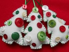Cute felt Christmas tree ornaments with buttons. by Audrey Dalley, CEO