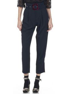 Pantalon cigarette taille haute avec ceinture velours  Bleu by MO&CO.