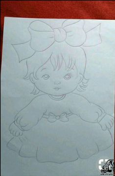 Baby girl in pink and white dress Cute Heart Drawings, Art Drawings For Kids, Colorful Drawings, Girl Drawing Sketches, Baby Drawing, Baby Painting, Fabric Painting, Baby Embroidery, Embroidery Patterns