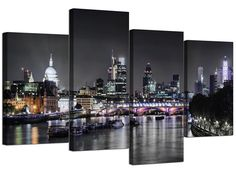 Wallfillers London Skyline Canvas Art - 3 Panel for your Living Room - Trendy Cityscape Canvas Pictures - 3211 Artwork Pictures, Home Pictures, Canvas Pictures, River Pictures, Canvas Artwork, Canvas Wall Art, Wall Art Prints, Framed Prints, Canvas Prints