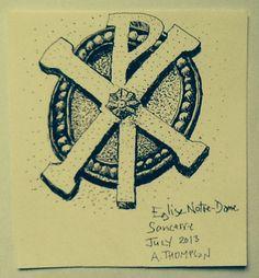 Inscription, Eglise Notre Dame, Sancerre. Ink drawing July 2013