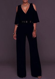 ByChicStyle Black Belt Cut Out V-neck Flutter Sleeve High Waisted Wide Leg Long Jumpsuit Long Jumpsuits, Jumpsuits For Women, Only Fashion, Fashion Black, Cheap Fashion, Fashion Women, Women's Fashion, Classic Outfits, Work Attire