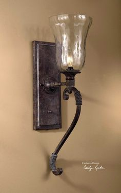 Shop for the Uttermost Lighting Fixtures - Wall Sconces 22418 Galeana 1 Lt. Wall Sconce at Dunk & Bright Furniture - Your Syracuse, Utica, Binghamton Furniture & Mattress Store Rustic Wall Sconces, Rustic Lamps, Rustic Lighting, Uttermost Lighting, Wall Sconce Lighting, House Lighting, Hall Lighting, Cabin Lighting, Sparkling Lights