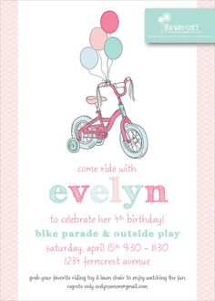 Precious Pastel Bicycle Birthday Party Invitation by VivVahChey, $1.65