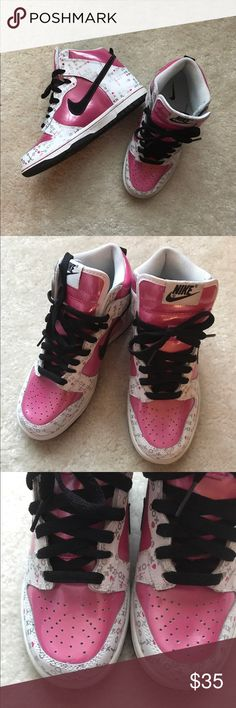 Nike high top dunks girls youth size 4Y Pink, white, black and silver Nike Dunks with XO design. excellent condition, worn only once. Nike Shoes Sneakers