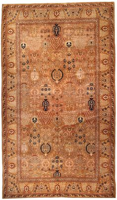 A Turkish Sivas rug - by Doris Leslie Blau. An early century Turkish Sivas rug, the tan field with an overall design of stylized palmettes with radiating . Extra Large Area Rugs, Large Rugs, Carpet Sale, Rugs On Carpet, Interior Design Classes, Fabric Rug, Textiles, Eclectic Decor, Antiques