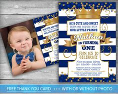 Prince Birthday Invitation First Birthday Invitations St - Digital first birthday invitation