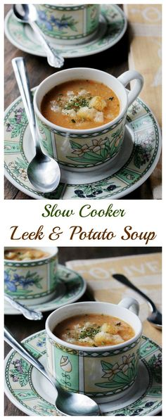 Slow Cooker Leek and Potato Soup | www.diethood.com | #crockpot #dinner