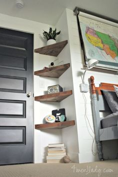 DIY floating corner shelves One of the easiest DIY corner shelves idea. Use triangle shaped wood and assemble it like in the photo below.