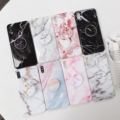 Lot pop socket marble phone case with finger ring grip for popsockets iphone Girly Phone Cases, Cool Iphone Cases, Iphone Phone Cases, Iphone 7, Iphone Cases Disney, Cell Phone Covers, Apple Iphone, Marble Iphone Case, Marble Case